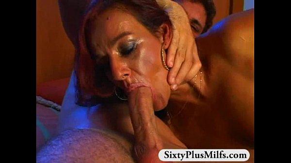 GILF Elle is surprised by his hard dick