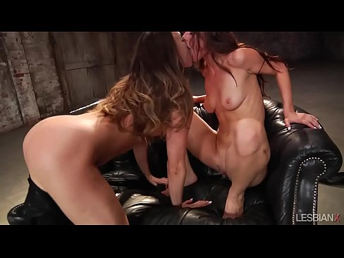 Naughty lesbians on leather sofa
