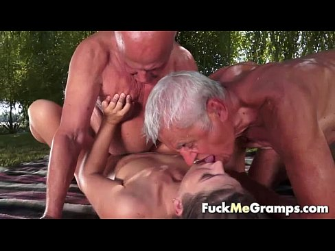Old people threesome